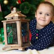 Little girl at christmas fur-tree — Stockfoto #35246845