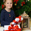 The little girl at a Christmas fur-tree with gifts — Stock Photo #35246857