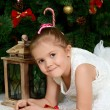Little girl at christmas fur-tree — Stockfoto #35247005