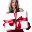 The Christmas girl with boxes of gifts — ストック写真