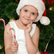 Little girl at christmas fur-tree — Εικόνα Αρχείου #35247053