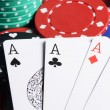 Four ases and casino chips — Stock Photo
