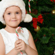 The little girl at christmas fur-tree — Stockfoto