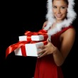The Christmas girl with boxes gifts — Stock Photo