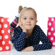 The little girl with a two packages isolated — Stock Photo #41005997