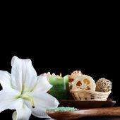 Zee zout en lily bloem — Stockfoto