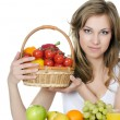 Stock Photo: Beautiful girl with fruit and vegetables