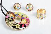 Costume jewellery with enamel — Stock Photo