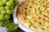 Focaccia with sauce Pesto — Stock Photo