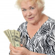 The elderly woman with dollars — Stock Photo #47002283