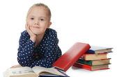 Girl reads books — Stock Photo
