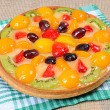Cake from shortcake dough with fruit — Stok fotoğraf