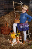 Portrait of cute little girl in country style — Stock Photo