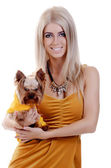 Girl with  Yorkshire terrier — Stock Photo