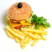 Hamburger with   potato fries — Stock Photo