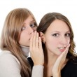 Two girl-friends tell gossips on an ear isolated — Stock Photo #8163346
