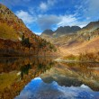 Mountain lake in autumn with blue sky and beautiful reflections — Stock Photo #22375375