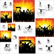Set. Icons for sports championships and banners from happy fans . — Stock Vector #13394781