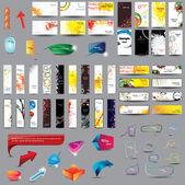 La mezcla tarjetas verticales y horizontales de la colección, cabeceras, burbujas de discurso y elementos de diseño web sobre diferentes temas. — Vector de stock