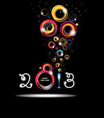 New year 2013 in black background. Abstract poster — Stock Vector