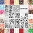 Mix Collection multicolored and monochrome seamless textures — Stock Vector