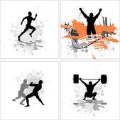 Conjunto de cartazes para campeonatos desportivos e concertos — Vetorial Stock