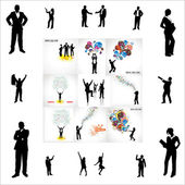 Set of posters and silhouettes for business — Stock Vector