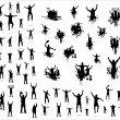 Stock Vector: Set of poses from fans for sports championships and music concerts. Boys and girls