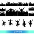 Set of poses from fans for sports championships and music concerts. Boys and girls — Stock Vector