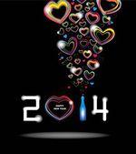 Nuevo año 2014 en abstracto cartel de fondo negro — Vector de stock