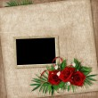 Vintage card for the holiday with flower on the abstract backgro — Stock Photo