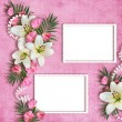Stock Photo: Card for the holiday with flowers on the abstract background