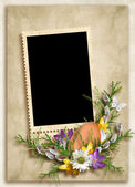 Card for the holiday with flowers on the abstract background — Stock Photo