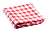 Red and white tablecloth — Stok fotoğraf