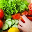 Cutting vegetables — Stock Photo