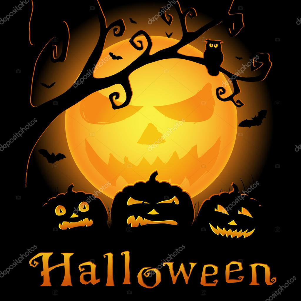 Halloween vector background with scary pumpkins, moon and owl on the branch — Stock Vector #13646999