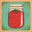 Strawberry jam. Vintage cardboard. Vector Eps10 — 图库矢量图片