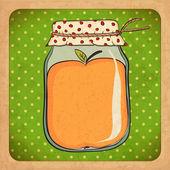 Barattolo di marmellata di mele. cartone d'epoca. vettore eps10 — Vettoriale Stock