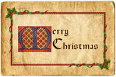 Old Christmas card. Gothic lettering Merry Christmas. — Stock Photo