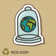 Eco concept illustration on cardboard. Protect the Earth — Stock Vector