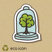 段ボールのエコの概念図。木を保護します。 — ストックベクタ