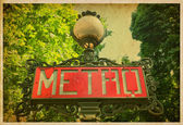 Metro sign in Paris, France. Vintage photo — Foto Stock