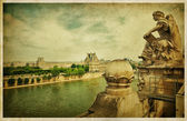 The Louvre Museum, Paris. Vintage photo — Stock Photo