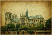 Notre dame cathedral, Paris. Vintage photo — Стоковое фото