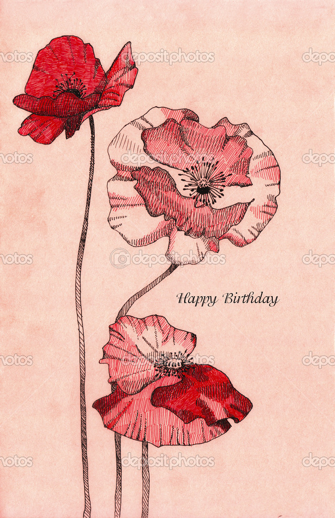 A hand-drawn illustration of poppy flowers. Can be used as birthday card. — Stock Photo #18728061
