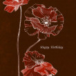 Drawing-birthday-poppy-flowers_inverse — Stock Photo