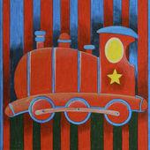 Red train Locomotive — Stock Photo