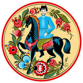 Russian folk painting - rider on horse — Stock Vector