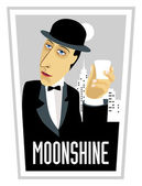 Moonshine-man-glass — Stock Vector