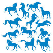 Horses-silhouettes — Stock Vector